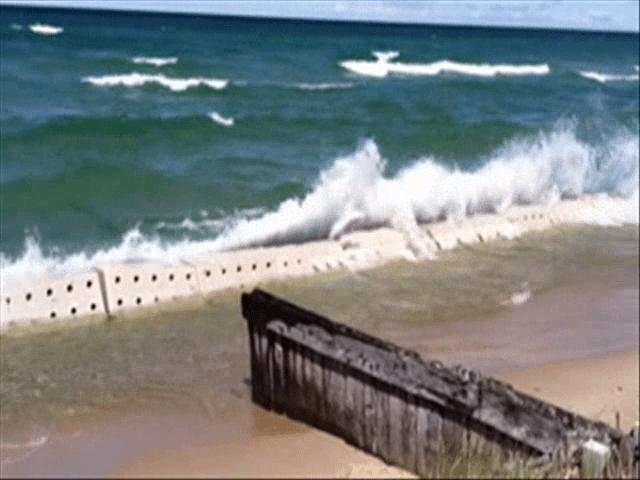 Sandsaver Beach Erosion Barriers Breaking Down Wave Energy