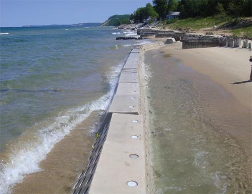 lake Michigan Sandsaver Beach Erosion Solution Installation