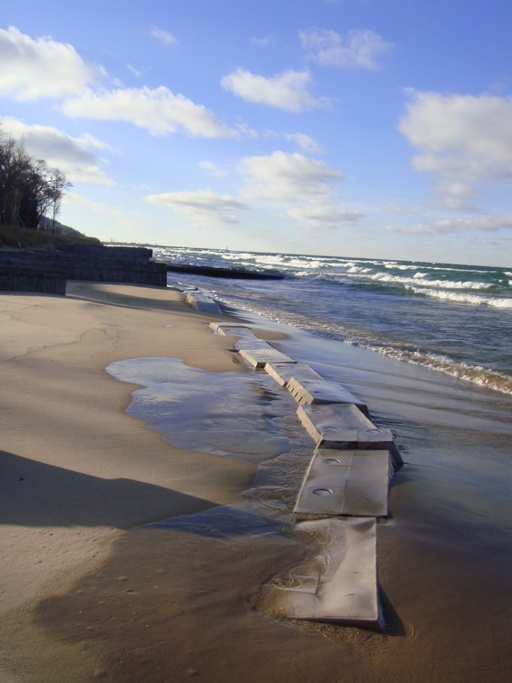 Sandsaver near completely covered in Lake Michigan Great Lakes